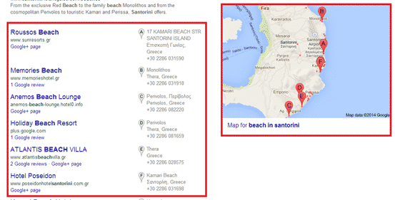 local results with google map